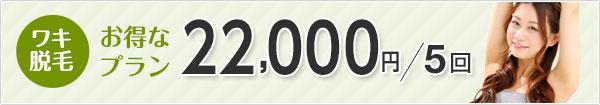 ワキ脱毛 お得なプラン 21,600円/5回